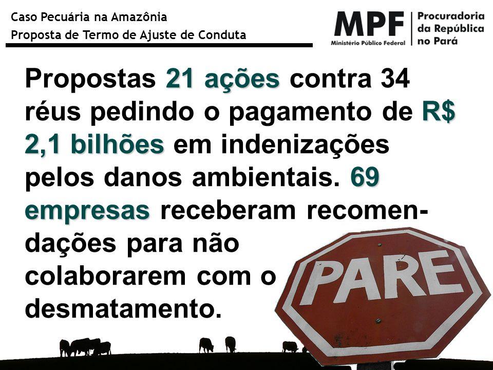 Caso Pecuária na Amazônia Proposta de Termo de Ajuste de Conduta 21 ações R$ 2,1 bilhões 69 empresas Propostas 21 ações contra 34 réus pedindo o pagam