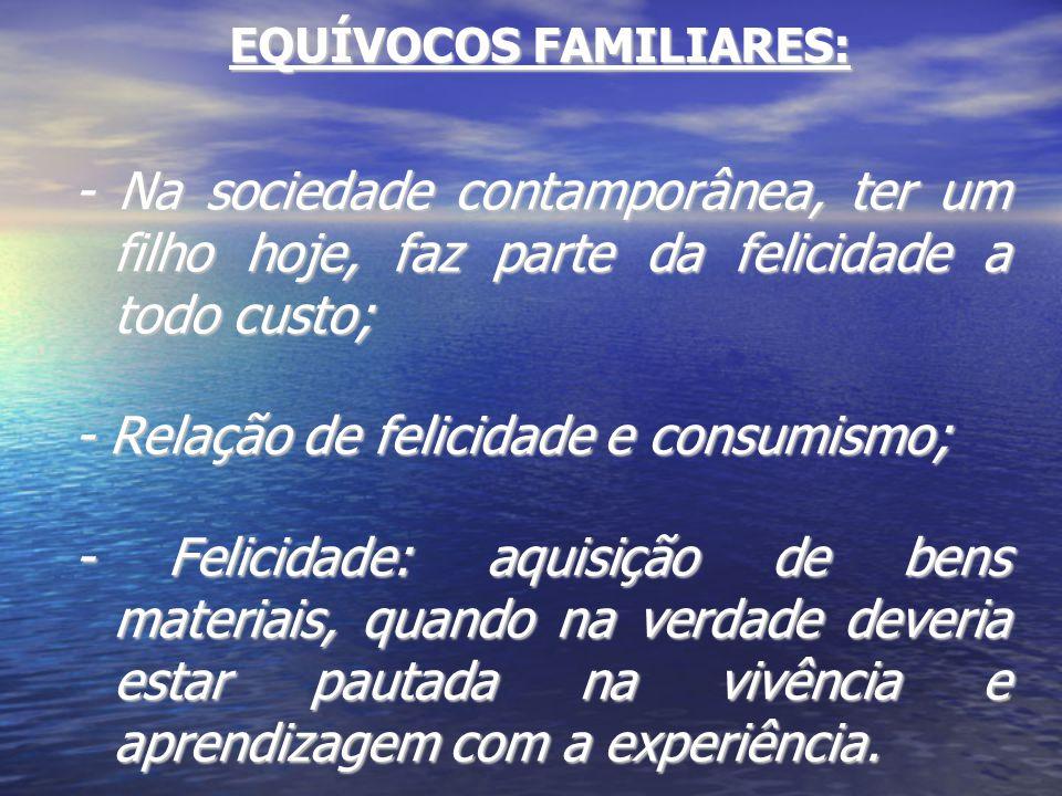 EQUÍVOCOS FAMILIARES: - Na sociedade contamporânea, ter um filho hoje, faz parte da felicidade a todo custo; - Relação de felicidade e consumismo; - F