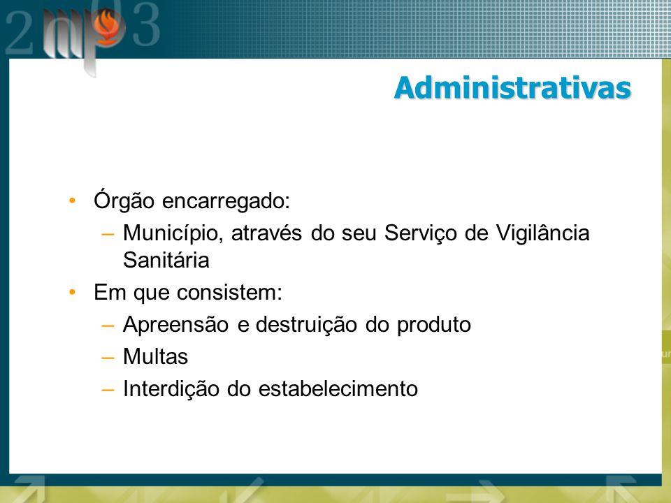 Administrativas Órgão encarregado: –Município, através do seu Serviço de Vigilância Sanitária Em que consistem: –Apreensão e destruição do produto –Mu