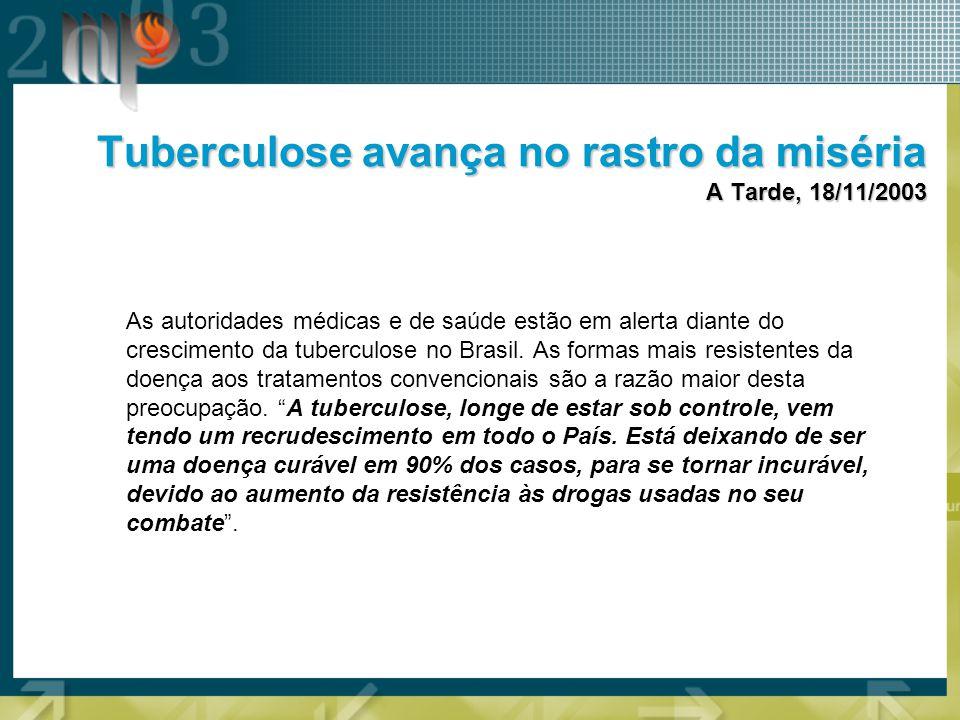 NO BRASIL –doentes/ano: 90.000 –mortes/ano: 6.000 (MS/FNS/CENEPI) NA BAHIA –doentes/ano: 8.000 –mortes/ano: 400 –crescimento anual: 14% (SESAB) Dados sobre a tuberculose