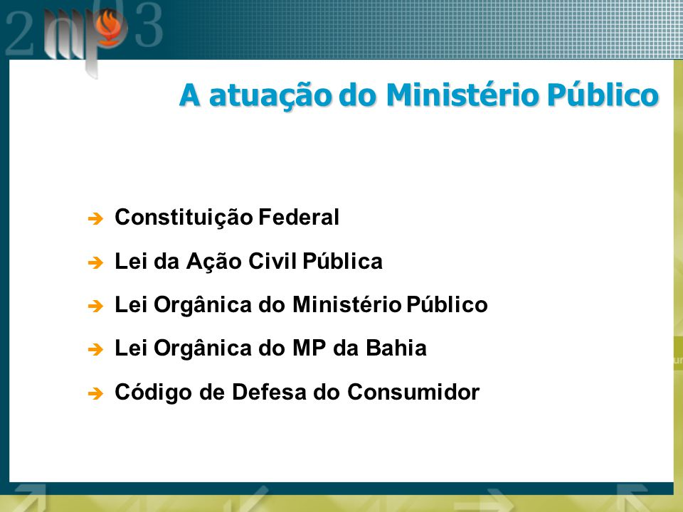 A atuação do Ministério Público Constituição Federal Lei da Ação Civil Pública Lei Orgânica do Ministério Público Lei Orgânica do MP da Bahia Código d