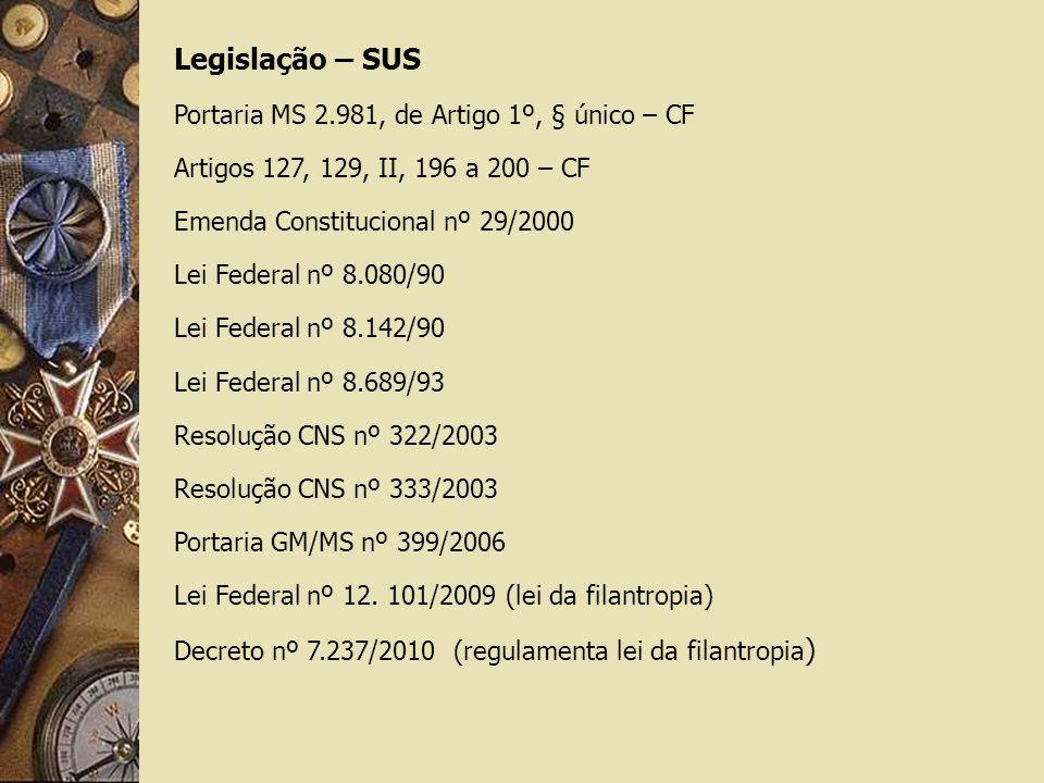 Legislação – SUS Portaria MS 2.981, de Artigo 1º, § único – CF Artigos 127, 129, II, 196 a 200 – CF Emenda Constitucional nº 29/2000 Lei Federal nº 8.080/90 Lei Federal nº 8.142/90 Lei Federal nº 8.689/93 Resolução CNS nº 322/2003 Resolução CNS nº 333/2003 Portaria GM/MS nº 399/2006 Lei Federal nº 12.