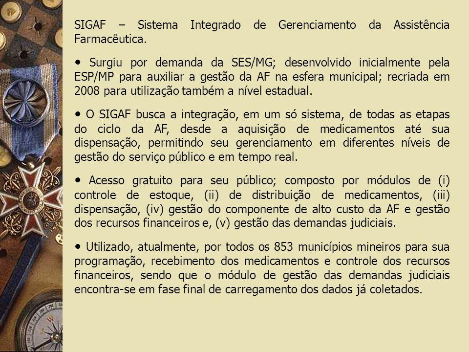 SIGAF – Sistema Integrado de Gerenciamento da Assistência Farmacêutica. Surgiu por demanda da SES/MG; desenvolvido inicialmente pela ESP/MP para auxil
