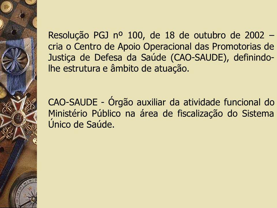 Resolução PGJ nº 100, de 18 de outubro de 2002 – cria o Centro de Apoio Operacional das Promotorias de Justiça de Defesa da Saúde (CAO-SAUDE), definindo- lhe estrutura e âmbito de atuação.