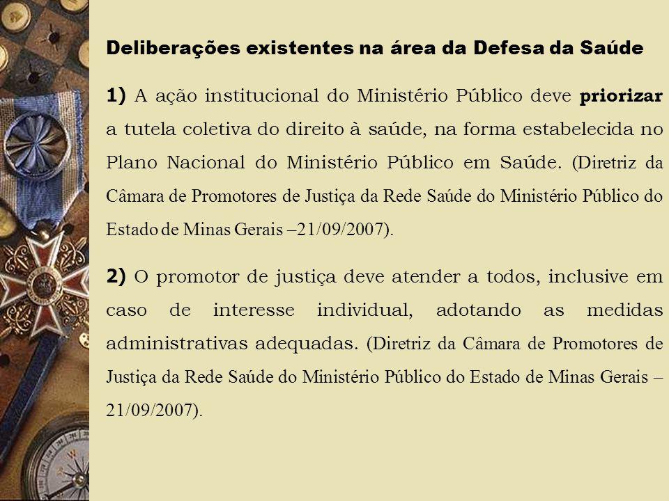 Deliberações existentes na área da Defesa da Saúde 1) A ação institucional do Ministério Público deve priorizar a tutela coletiva do direito à saúde,