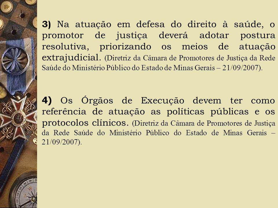 3) Na atuação em defesa do direito à saúde, o promotor de justiça deverá adotar postura resolutiva, priorizando os meios de atuação extrajudicial. (Di