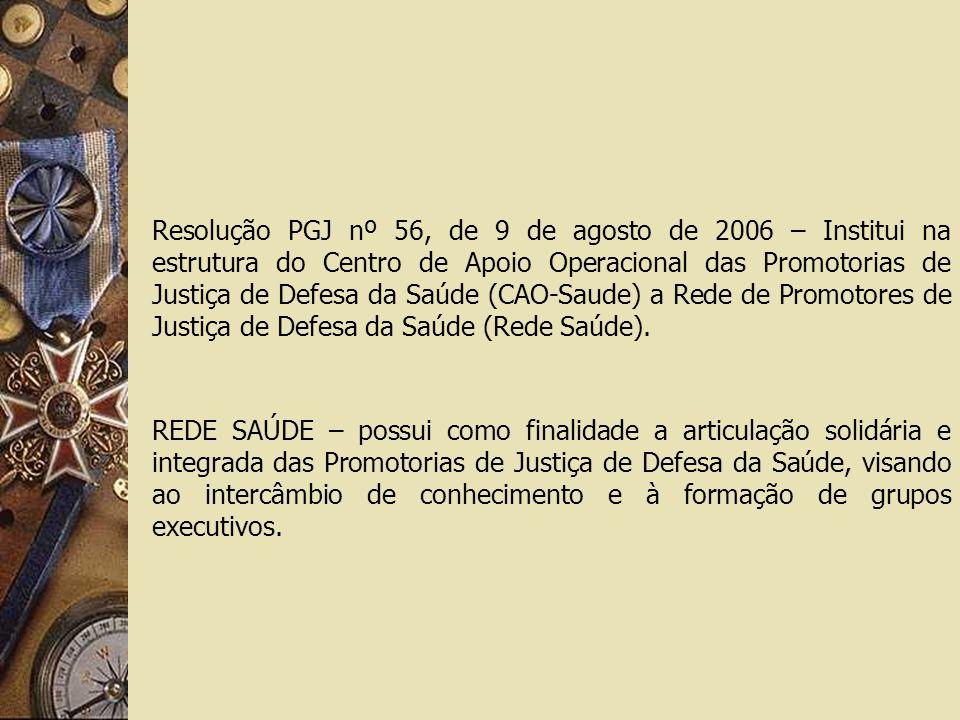 Resolução PGJ nº 56, de 9 de agosto de 2006 – Institui na estrutura do Centro de Apoio Operacional das Promotorias de Justiça de Defesa da Saúde (CAO-Saude) a Rede de Promotores de Justiça de Defesa da Saúde (Rede Saúde).