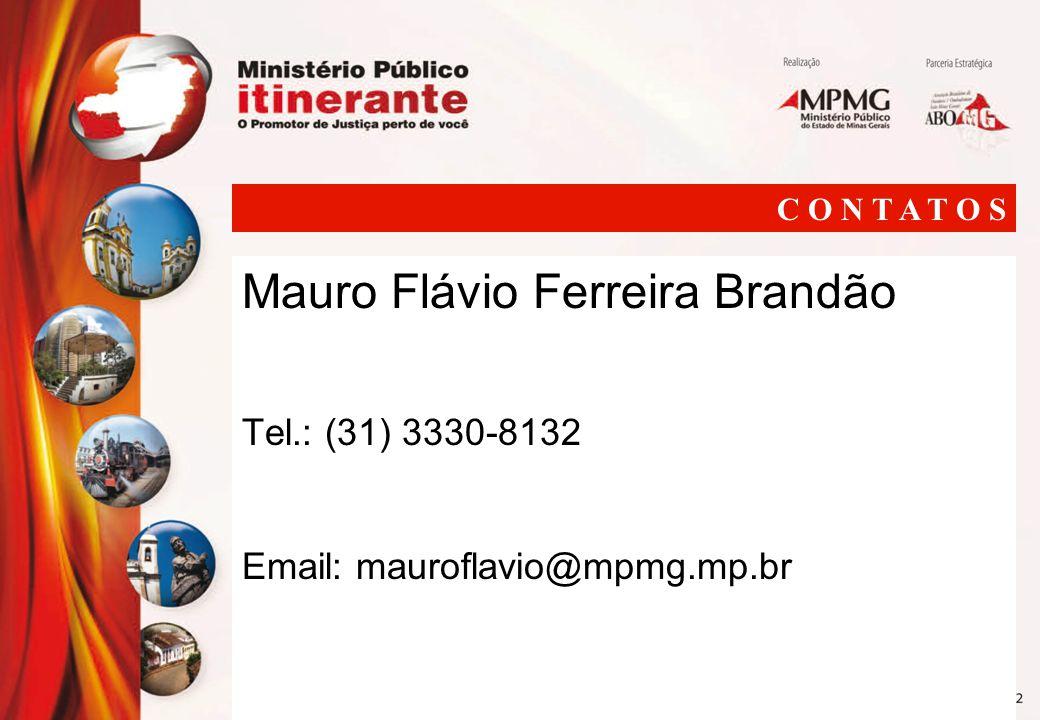 Mauro Flávio Ferreira Brandão Tel.: (31) 3330-8132 Email: mauroflavio@mpmg.mp.br C O N T A T O S