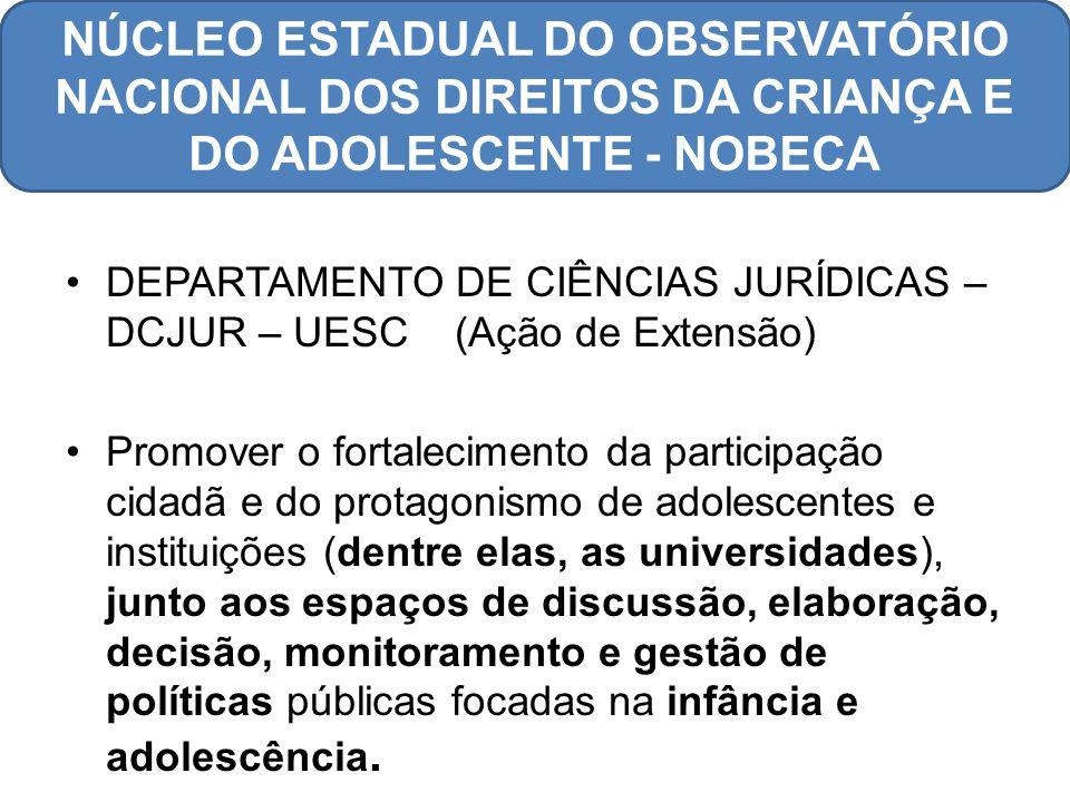 DEPARTAMENTO DE CIÊNCIAS JURÍDICAS – DCJUR – UESC (Ação de Extensão) Promover o fortalecimento da participação cidadã e do protagonismo de adolescente