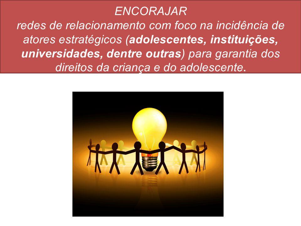 ENCORAJAR redes de relacionamento com foco na incidência de atores estratégicos (adolescentes, instituições, universidades, dentre outras) para garant