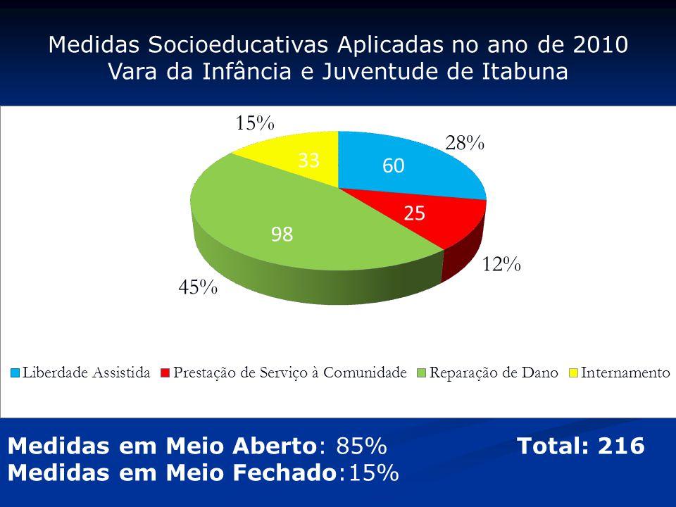Medidas Socioeducativas Aplicadas no ano de 2010 Vara da Infância e Juventude de Itabuna Medidas em Meio Aberto: 85% Total: 216 Medidas em Meio Fechad
