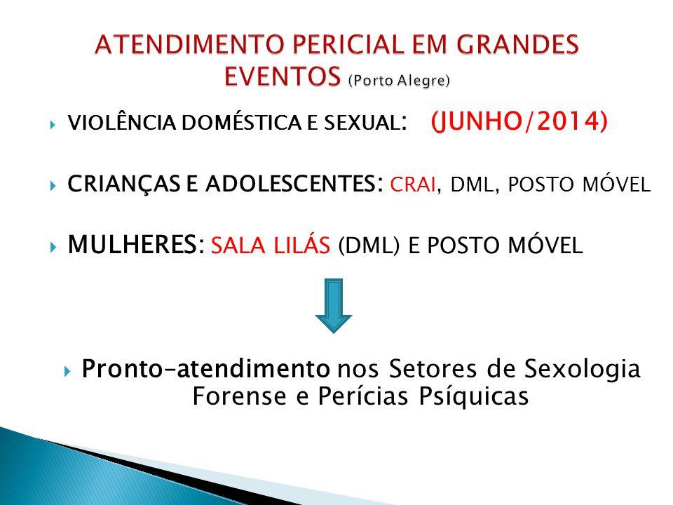 VIOLÊNCIA DOMÉSTICA E SEXUAL : (JUNHO/2014) CRIANÇAS E ADOLESCENTES : CRAI, DML, POSTO MÓVEL MULHERES: SALA LILÁS (DML) E POSTO MÓVEL Pronto–atendimento nos Setores de Sexologia Forense e Perícias Psíquicas