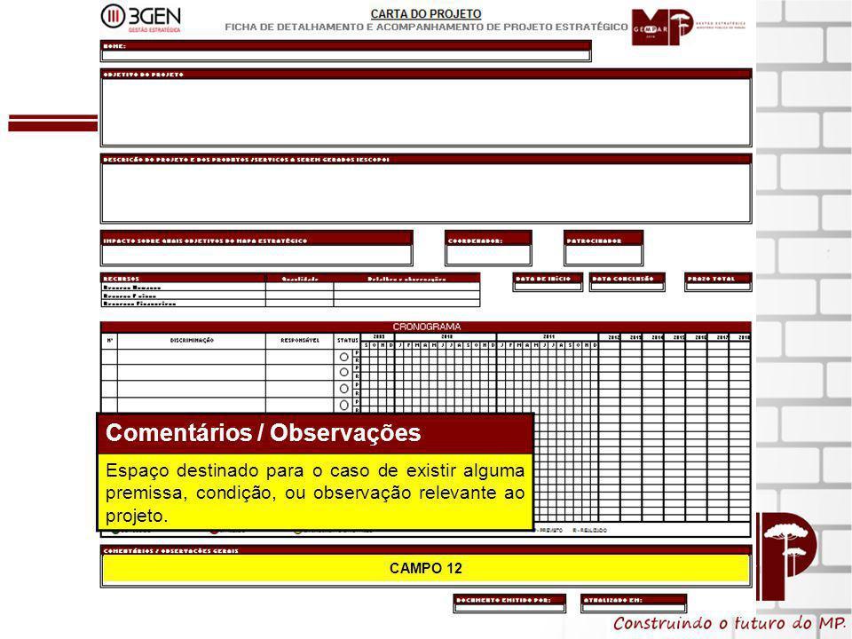 14 CAMPO 12 Comentários / Observações Espaço destinado para o caso de existir alguma premissa, condição, ou observação relevante ao projeto.