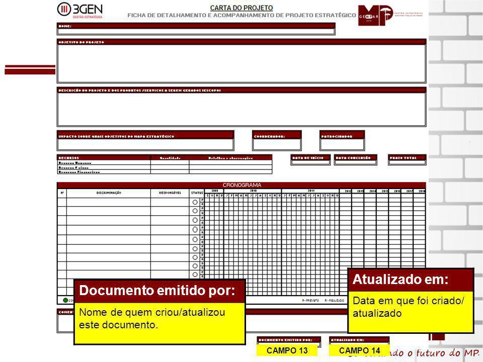 15 CAMPO 13 CAMPO 14 Documento emitido por: Nome de quem criou/atualizou este documento.
