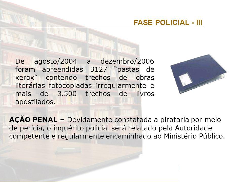 De agosto/2004 a dezembro/2006 foram apreendidas 3127 pastas de xerox contendo trechos de obras literárias fotocopiadas irregularmente e mais de 3.500 trechos de livros apostilados.