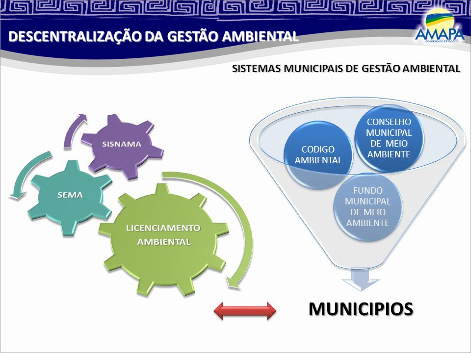 SISTEMAS MUNICIPAIS DE GESTÃO AMBIENTAL MUNICIPIOS FUNDO MUNICIPAL DE MEIO AMBIENTE CODIGO AMBIENTAL CONSELHO MUNICIPAL DE MEIO AMBIENTE DESCENTRALIZAÇÃO DA GESTÃO AMBIENTAL