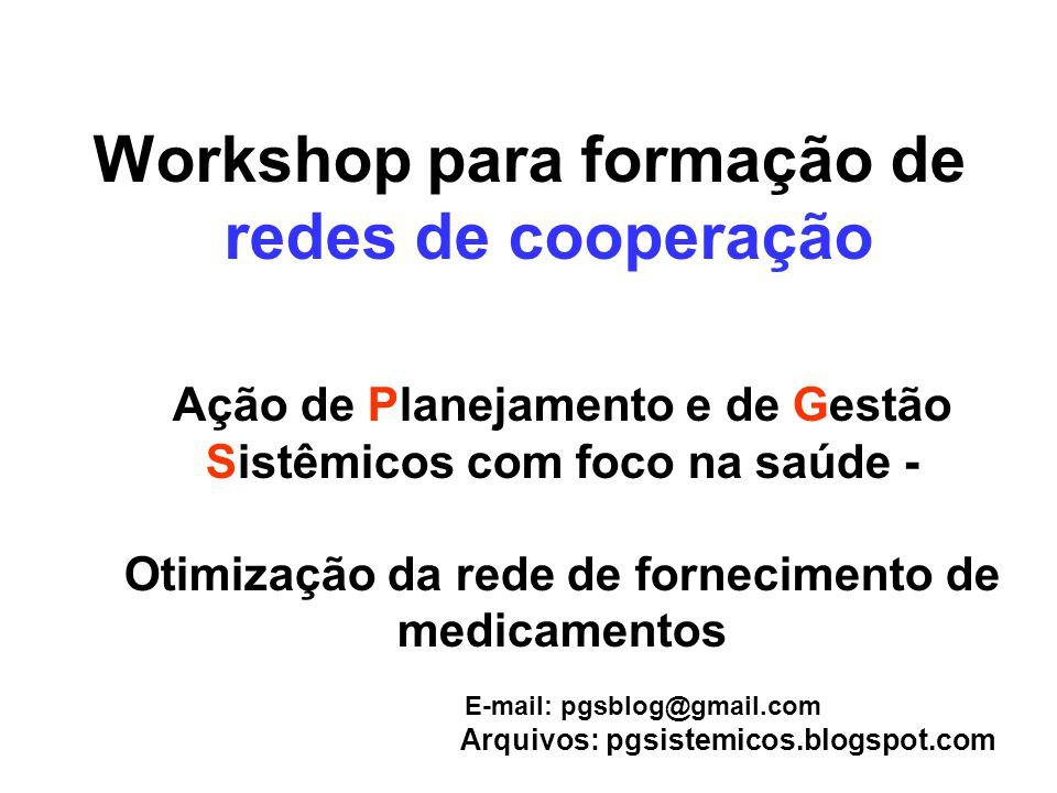 Workshop para formação de redes de cooperação Ação de Planejamento e de Gestão Sistêmicos com foco na saúde - Otimização da rede de fornecimento de me