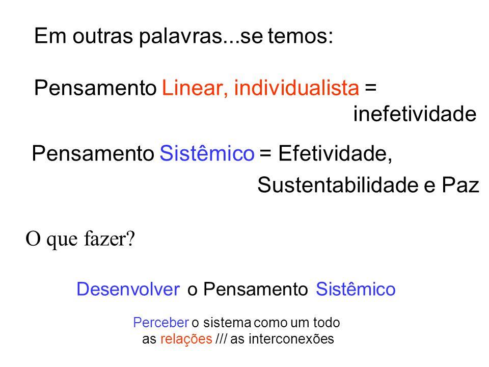 Em outras palavras...se temos: Pensamento Linear, individualista = inefetividade Pensamento Sistêmico = Efetividade, Sustentabilidade e Paz O que faze