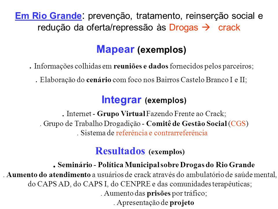 Em Rio Grande : prevenção, tratamento, reinserção social e redução da oferta/repressão às Drogas crack Mapear (exemplos). Informações colhidas em reun