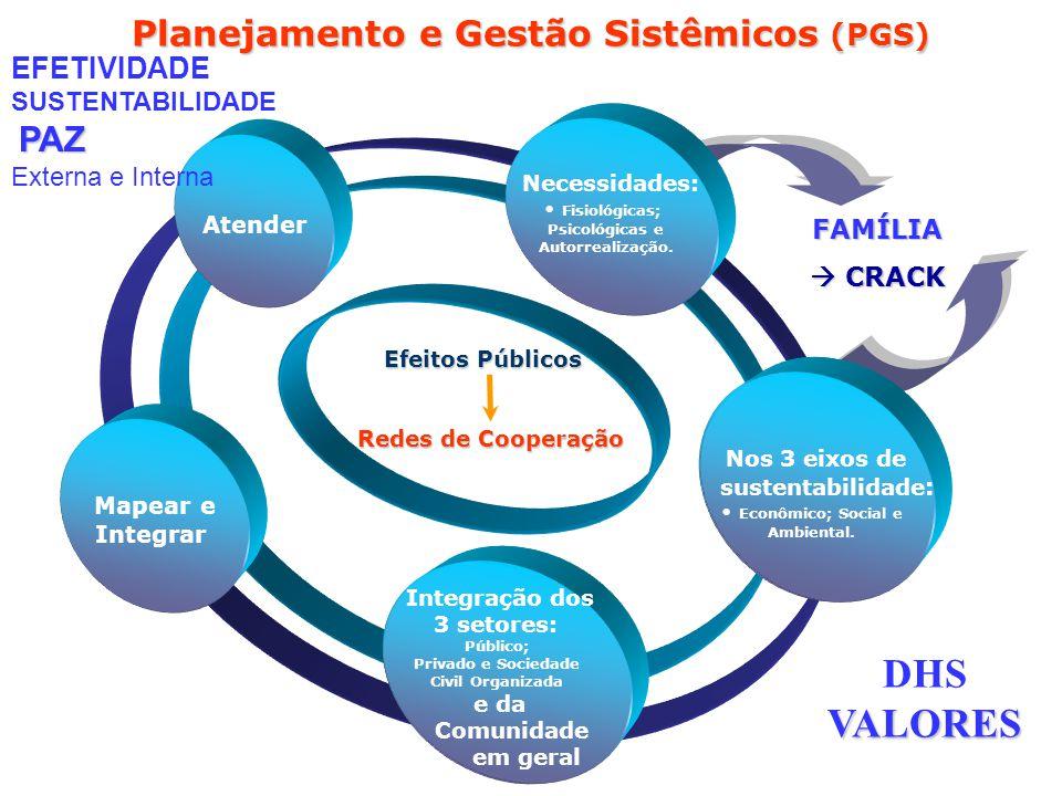 FAMÍLIA CRACK CRACK Planejamento e Gestão Sistêmicos (PGS) Integração dos 3 setores e da Comunidade em geral Mapear e Integrar Atender Necessidades No