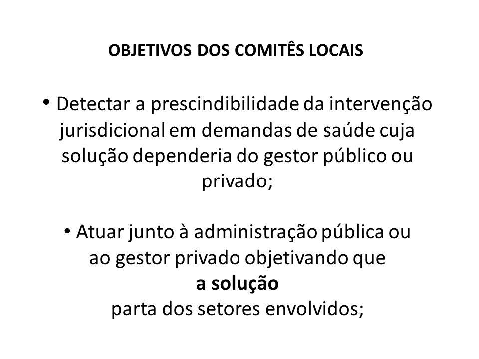 OBJETIVOS DOS COMITÊS LOCAIS Detectar a prescindibilidade da intervenção jurisdicional em demandas de saúde cuja solução dependeria do gestor público