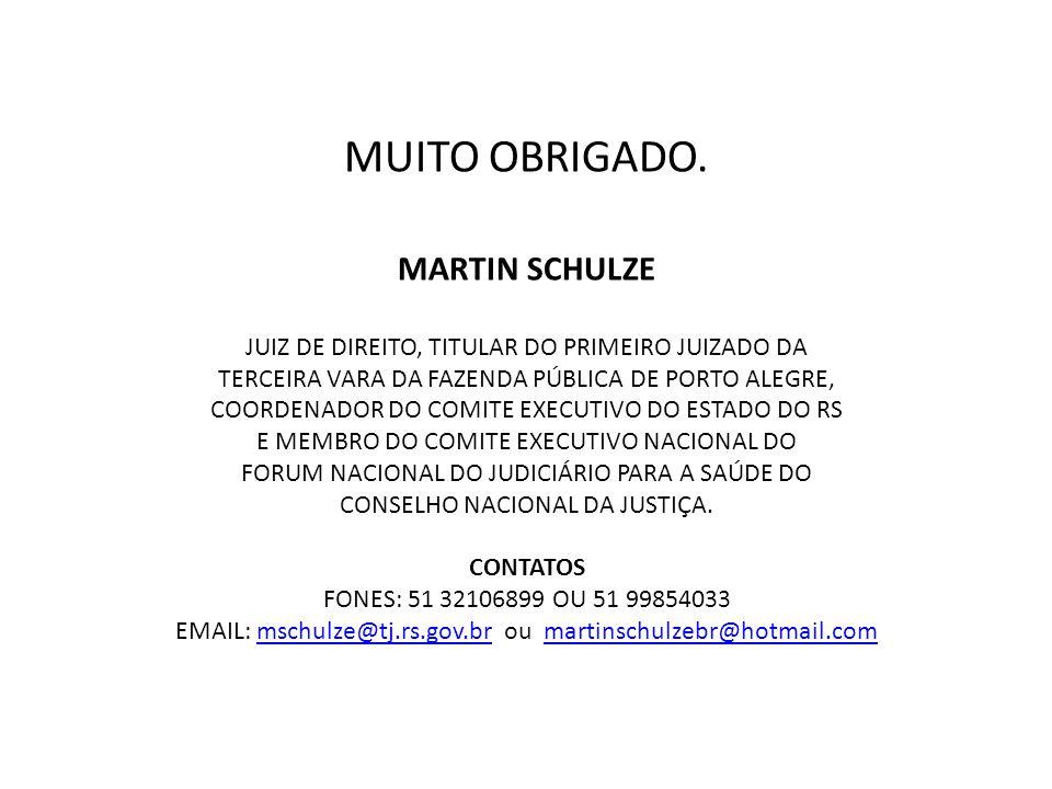 MUITO OBRIGADO. MARTIN SCHULZE JUIZ DE DIREITO, TITULAR DO PRIMEIRO JUIZADO DA TERCEIRA VARA DA FAZENDA PÚBLICA DE PORTO ALEGRE, COORDENADOR DO COMITE