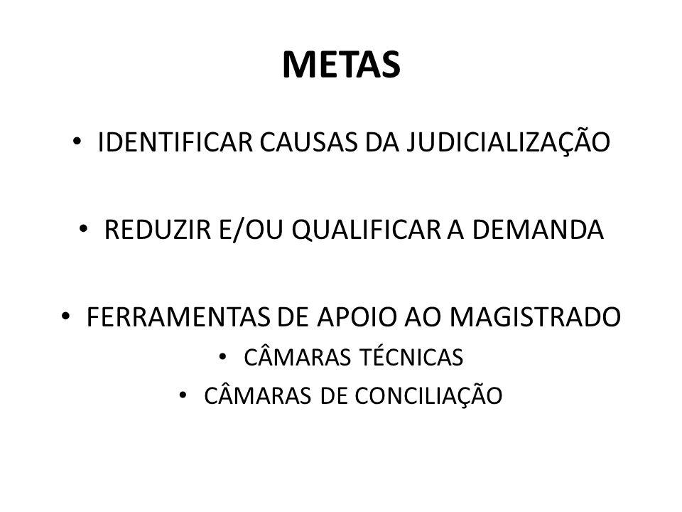 METAS IDENTIFICAR CAUSAS DA JUDICIALIZAÇÃO REDUZIR E/OU QUALIFICAR A DEMANDA FERRAMENTAS DE APOIO AO MAGISTRADO CÂMARAS TÉCNICAS CÂMARAS DE CONCILIAÇÃ