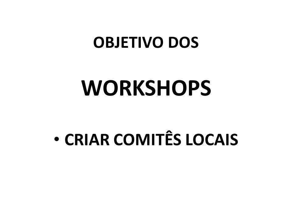 OBJETIVO DOS WORKSHOPS CRIAR COMITÊS LOCAIS
