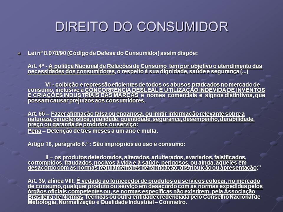 DIREITO DO CONSUMIDOR Lei nº 8.078/90 (Código de Defesa do Consumidor) assim dispõe: Art. 4º - A política Nacional de Relações de Consumo tem por obje