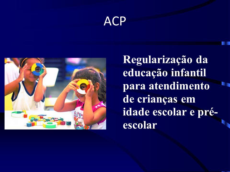 ACP Regularização da educação infantil para atendimento de crianças em idade escolar e pré- escolar