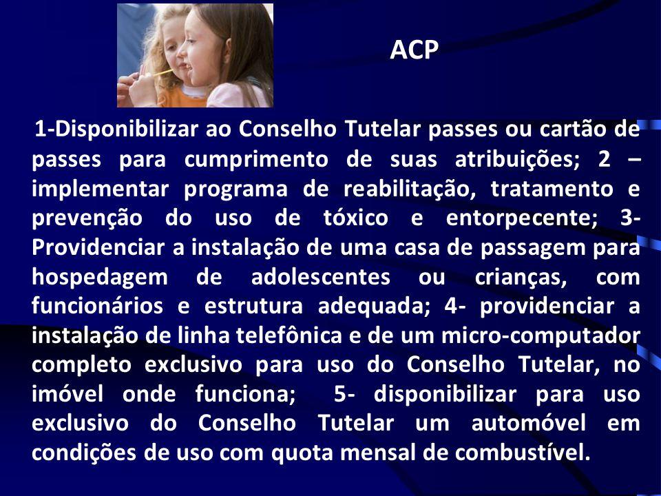ACP 1-Disponibilizar ao Conselho Tutelar passes ou cartão de passes para cumprimento de suas atribuições; 2 – implementar programa de reabilitação, tr