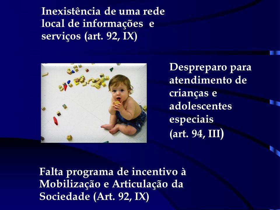 Despreparo para atendimento de crianças e adolescentes especiais (art. 94, III ) Inexistência de uma rede local de informações e serviços (art. 92, IX