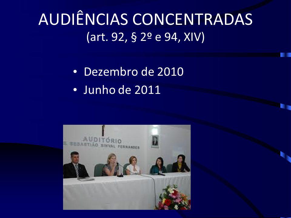 AUDIÊNCIAS CONCENTRADAS (art. 92, § 2º e 94, XIV) Dezembro de 2010 Junho de 2011
