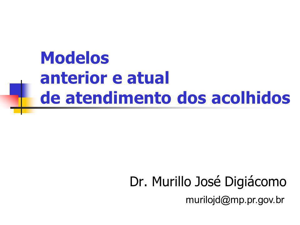 Modelos anterior e atual de atendimento dos acolhidos Dr.