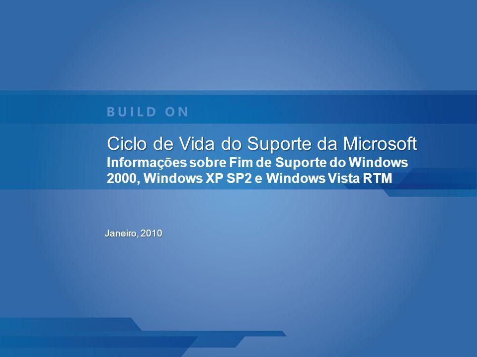 Ciclo de Vida do Suporte da Microsoft Ciclo de Vida do Suporte da Microsoft Informações sobre Fim de Suporte do Windows 2000, Windows XP SP2 e Windows Vista RTM Janeiro, 2010