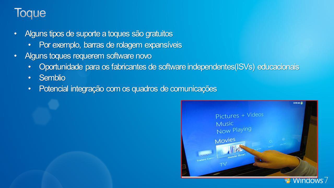 Alguns tipos de suporte a toques são gratuitosAlguns tipos de suporte a toques são gratuitos Por exemplo, barras de rolagem expansíveisPor exemplo, barras de rolagem expansíveis Alguns toques requerem software novoAlguns toques requerem software novo Oportunidade para os fabricantes de software independentes(ISVs) educacionaisOportunidade para os fabricantes de software independentes(ISVs) educacionais SemblioSemblio Potencial integração com os quadros de comunicaçõesPotencial integração com os quadros de comunicações
