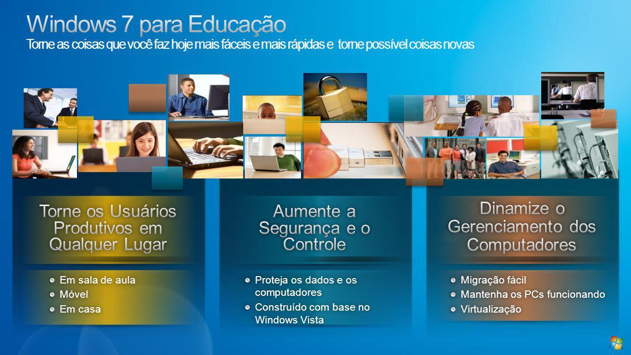 Em sala de aulaEm sala de aulaMóvel Em casaEm casa Proteja os dados e os computadores Construído com base no Windows Vista Migração fácilMigração fácil Mantenha os PCs funcionandoMantenha os PCs funcionandoVirtualização