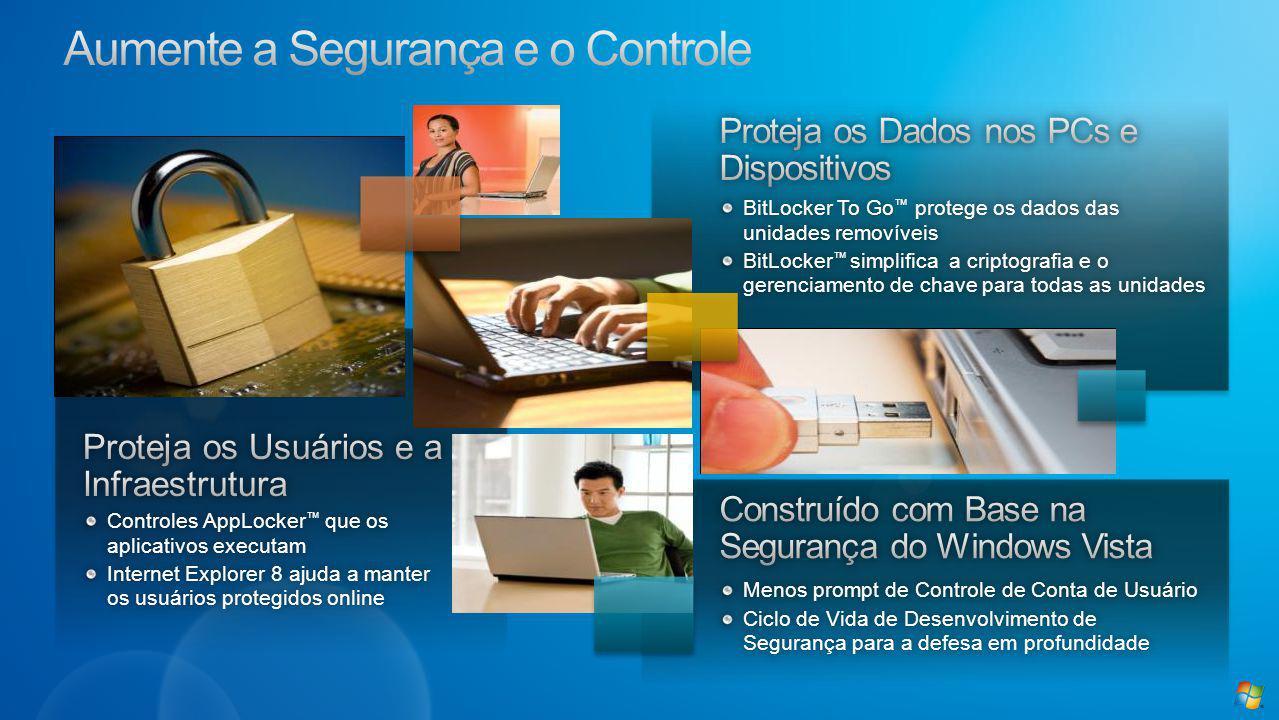 Novidade do Windows 7Novidade do Windows 7 Permite que as escolas controlem as aplicações que podem ser executadasPermite que as escolas controlem as aplicações que podem ser executadas Maneira fácil de limitar o risco de segurança e de compatibilidadeManeira fácil de limitar o risco de segurança e de compatibilidade Por exemplo, qualquer versão do Acrobat 9.0 ou superior pode ser executadaPor exemplo, qualquer versão do Acrobat 9.0 ou superior pode ser executada Impede que os estudantes e/ou equipe instalem aplicações nos PCsImpede que os estudantes e/ou equipe instalem aplicações nos PCs Restrito somente a aplicações assinadasRestrito somente a aplicações assinadas