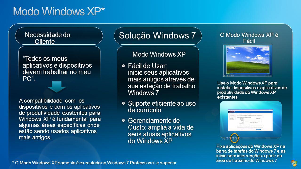 Solução Windows 7 Necessidade do Cliente Modo Windows XPModo Windows XP Fácil de Usar: inicie seus aplicativos mais antigos através de sua estação de trabalho Windows 7 Suporte eficiente ao uso de currículo Gerenciamento de Custo: amplia a vida de seus atuais aplicativos do Windows XP A compatibilidade com os dispositivos e com os aplicativos de produtividade existentes para Windows XP é fundamental para algumas áreas específicas onde estão sendo usados aplicativos mais antigos.