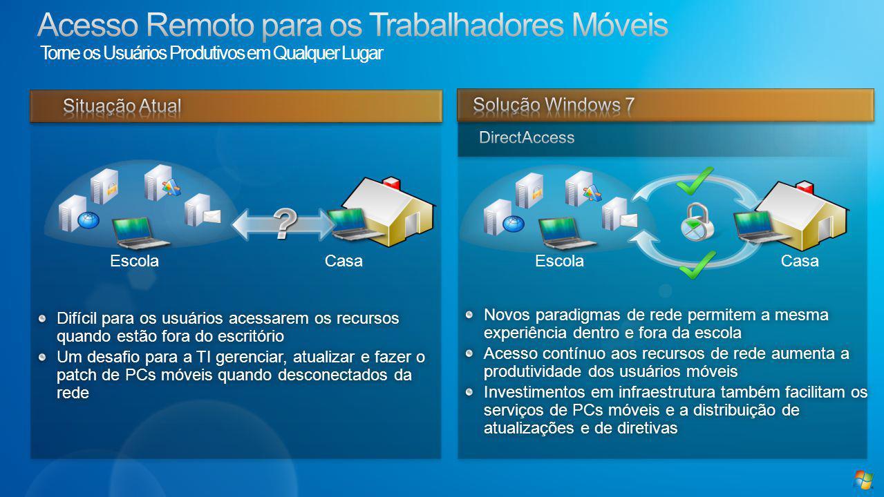 Baseado em VPN, IPv6 e IPSec mais simplesBaseado em VPN, IPv6 e IPSec mais simples Conectividade contínua com a rede do campusConectividade contínua com a rede do campus Windows 7 somente (Win2k08 R2 no servidor) – nenhum equivalente para MacWindows 7 somente (Win2k08 R2 no servidor) – nenhum equivalente para Mac Cenário:Cenário: Josh recebe uma tarefa de casa na escola e empresta um laptop da escolaJosh recebe uma tarefa de casa na escola e empresta um laptop da escola Josh faz a tarefa na casa de seu amigoJosh faz a tarefa na casa de seu amigo Eles precisam de alguns dados do site da Intranet da escola, então eles apenas digitam o endereço no navegador e o DirectAccess automaticamente os encaminha ao siteEles precisam de alguns dados do site da Intranet da escola, então eles apenas digitam o endereço no navegador e o DirectAccess automaticamente os encaminha ao site Josh envia sua tarefa de casa para o site do SharePoint da classe através do DirectAccessJosh envia sua tarefa de casa para o site do SharePoint da classe através do DirectAccess Além disso, a escola pode decidir se todo o tráfego da Internet é encaminhado através da escola ou não – por exemplo, o tempo do Josh/tráfego no Facebook/YouTube pode fluir através da rede da escola se necessário.Além disso, a escola pode decidir se todo o tráfego da Internet é encaminhado através da escola ou não – por exemplo, o tempo do Josh/tráfego no Facebook/YouTube pode fluir através da rede da escola se necessário.