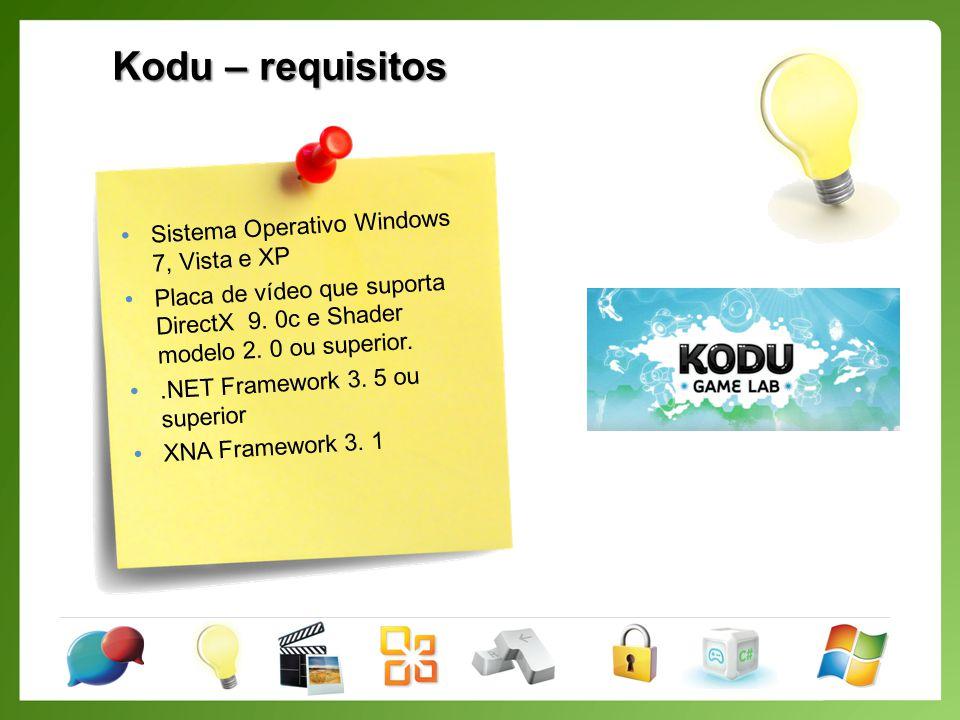Kodu – requisitos Sistema Operativo Windows 7, Vista e XP Placa de vídeo que suporta DirectX 9.