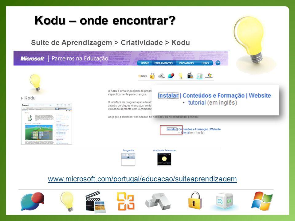 Kodu – O nosso primeiro jogo Inserir objectos (Kodu, maçãs, rochas);