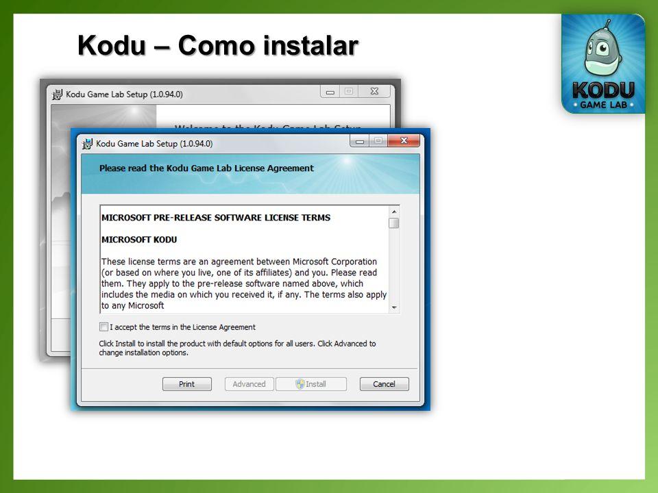 Kodu – O nosso primeiro jogo Alterar a cor de alguns objectos (maçãs);
