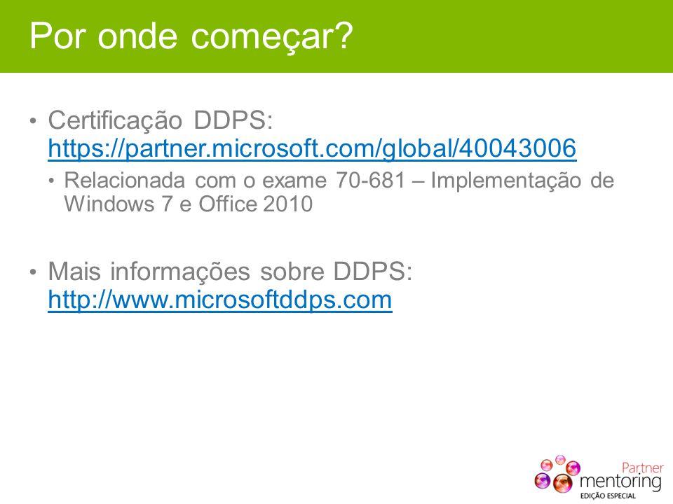 Por onde começar? Certificação DDPS: https://partner.microsoft.com/global/40043006 https://partner.microsoft.com/global/40043006 Relacionada com o exa