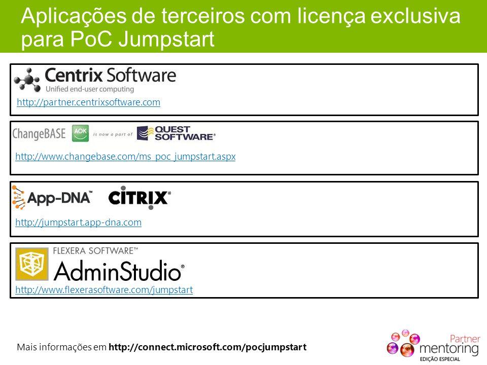 Aplicações de terceiros com licença exclusiva para PoC Jumpstart http://partner.centrixsoftware.com http://www.changebase.com/ms_poc_jumpstart.aspx ht