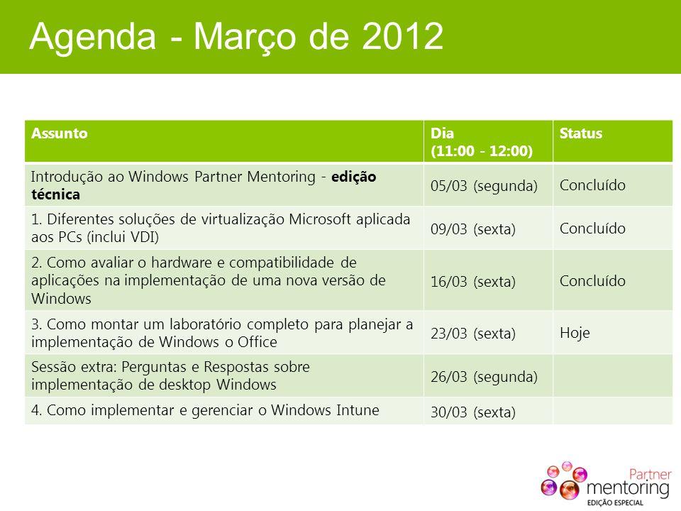 Agenda - Março de 2012 AssuntoDia (11:00 - 12:00) Status Introdução ao Windows Partner Mentoring - edição técnica 05/03 (segunda)Concluído 1. Diferent