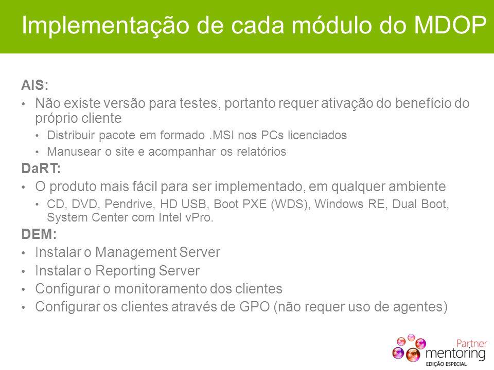 Implementação de cada módulo do MDOP AIS: Não existe versão para testes, portanto requer ativação do benefício do próprio cliente Distribuir pacote em