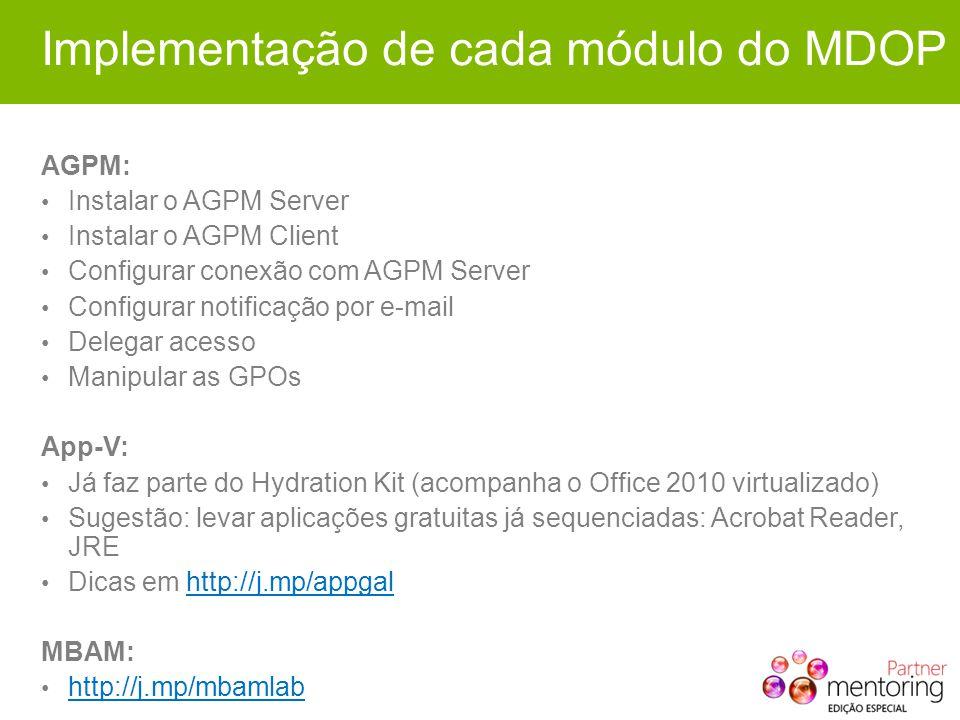 Implementação de cada módulo do MDOP AGPM: Instalar o AGPM Server Instalar o AGPM Client Configurar conexão com AGPM Server Configurar notificação por