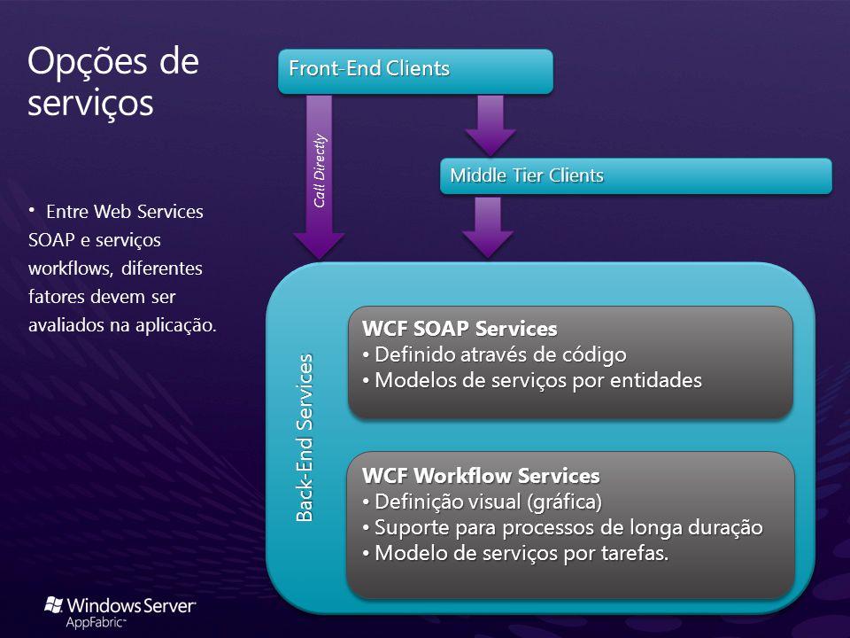 Entre Web Services SOAP e serviços workflows, diferentes fatores devem ser avaliados na aplicação. Back-End Services Middle Tier Clients Front-End Cli
