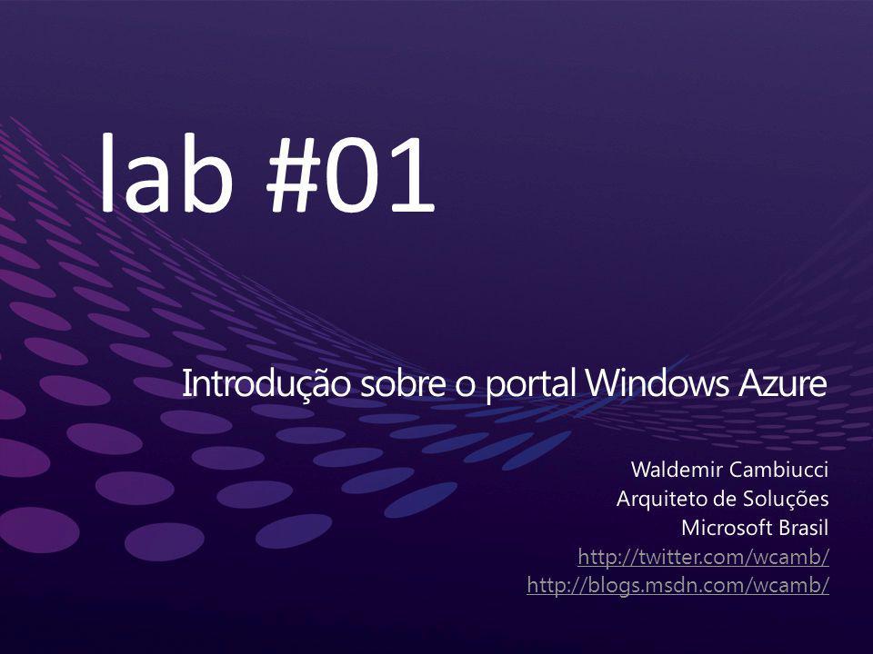 Introdução sobre o portal Windows Azure lab #01